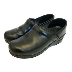 DANSKO Professional Black Leather Slip On Clogs